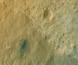 Rover Curiosity image shows area of blast from rocket engines