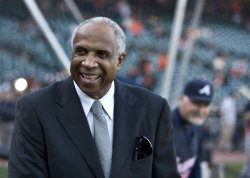 Frank Robinson watches batting practice in San Francisco
