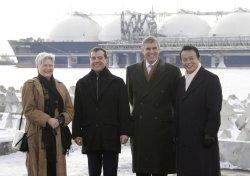 Russian President Medvedev meets with Japanese Prime Minister Taro Aso in Prigorodnoye