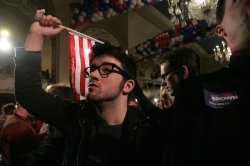 Scott Brown fans await results Massachusetts special election for U.S. Senate.
