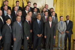 US President Barack Obama hosts the 2013 Presidents Cup Team at the White House