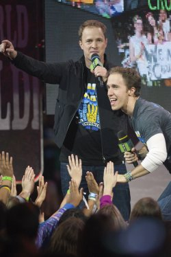 Organizers Marc and Craig Kielburger speak during the 2014 Vancouver We Day at Roger's Arena