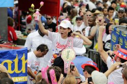 Sonya Thomas wins the Ladies Nathan's Famous Fourth of July International Hot Dog Eating Contest in New York