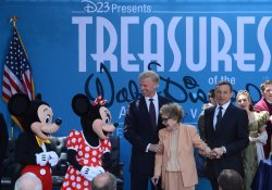 Nancy Reagan attends opening ceremony of Disney exhibit at Reagan Library in Simi Valley, California