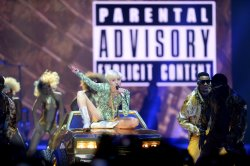 Miley Cyrus performs live in London.