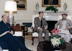 President Reagan meets with Afghan Resistance Alliance leader Rabbani