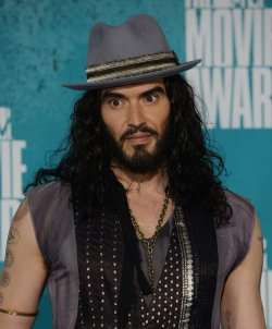 Russell Brand appears backstage at the 2012 MTV Movie Awards in Universal City, California
