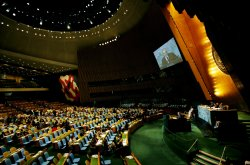 Iraq's President Jalal Talabani addresses the General Assembly at United Nations