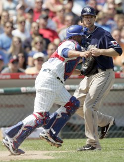 Chicago Cubs Catcher Castillo Tags Out San Diego Padres Base Runner Headley