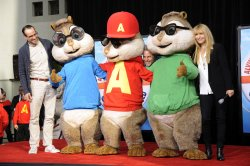 Jason Lee, Ross Bagdasarian and Janice Karman attend a ceremony where Alvin and the Chipmunks are honored with hand & footprint ceremony at Grauman's Chinese Theatre in Hollywood