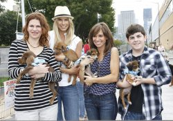 Sandra Bernhard, Beth Ostrosky Stern, Sara Gore and Josh Flitter attend the Celebrity Rescue Rally in New York