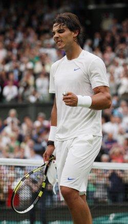 Rafael Nadal reacts at Wimbledon.