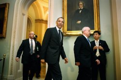 President Obama Meets With Senate Democrats On Capitol Hill