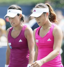 Ayumi Morita and Kimiko Date Krumm compete in doubles at the U.S. Open in New York