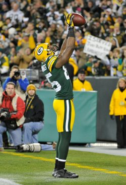 Packers Jennings celebrates touchdown in Green Bay, Wisconsin