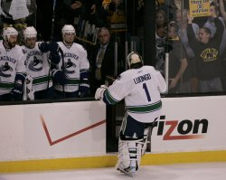 Canucks Luongo pulled in game 6 of the NHL Stanley Cup Finals in Boston, MA.
