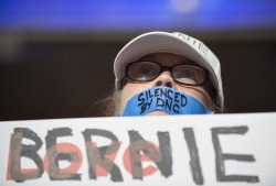 Silent Sanders delegate at the DNC convention in Philadelphia