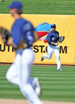 Braun runs into position at spring training in Arizona.