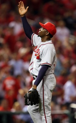 Atlanta Braves Soriano gets third out against St. Louis Cardinals
