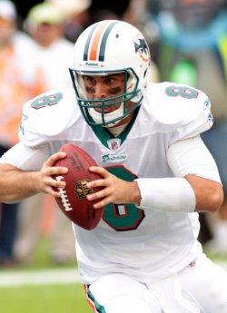 Dolphins quarterback Matt Moore runs in Miami