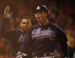 Atlanta Braves Rick Ankiel homers to beat the Giants at AT&T Park in San Francisco