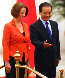 Australian Prime Minister Gillard attends welcoming ceremony in Beijing