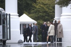 Republican Senators arrives at the White House in Washington