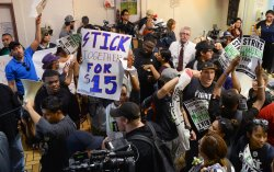 10 protesters arrested calling for higher fast food wages in Los Angeles