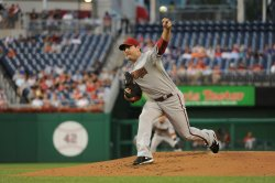 Diamondbacks Saunders pitches against the Nationals in Washington