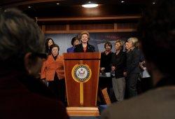 Female Democratic Senators discuss budget battle in Washington