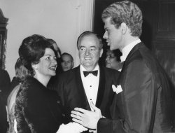 Lady Bird Johnson confers with famous pianist Van Cliburn at Inaugural Concert at Constitution Hall