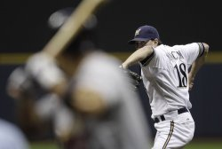 Brewers pitcher Shaun Marcum in game 6 of NLCS in Milwaukee, Wisconsin