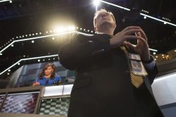 Secret Service guards podium at the DNC convention in Philadelphia