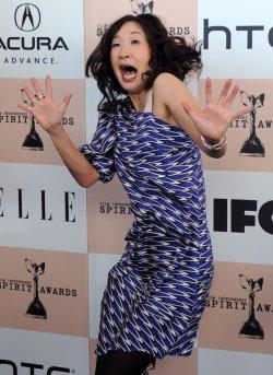Sandra Oh arrives at the 2011 Film Independent Spirit Awards in Santa Monica, California