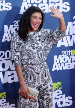 Jessica Szohr arrives at the MTV Movie Awards in Los Angeles