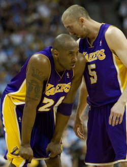 Lakers Bryant and Blake Talk During the NBA Western Conference Playoffs First Round Game Six in Denver