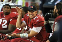 Cardinals Skelton smiles in the fourth quarter in Arizona.
