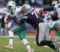 Patriots Deadrick sacks Miami Moore at Gillette Stadium in Foxboro, MA.