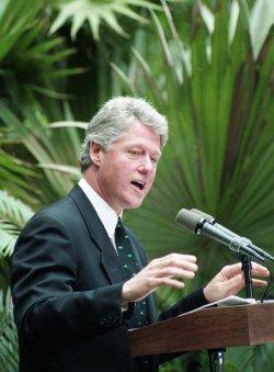 U.S. President Bill Clinton and Vice President Al Gore visit the U.S. Botanical Garden in Washington