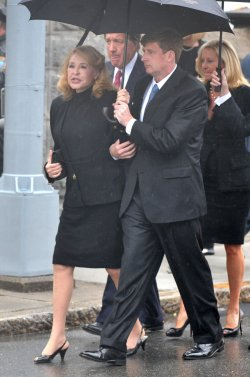 Joan Kennedy and Rep. Patrick Kennedy (D-RI) arrives for the funeral of Sen. Edward Kennedy (D-MA) in Boston