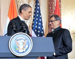 Honoring Indian FM Krishna at the State Department