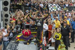 Jeff Gordon celebrates his fifth Brickyard win