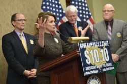 Senators hold a press Conference on Raising teh Minimum Wage in Washington, D.C.