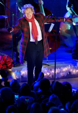 Rod Stewart performs during the Rockefeller Center Christmas Tree Lighting Ceremony in New York