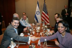 SECRETARY OF STATE RICE MEETS WITH ISRAELI PM OLMERT