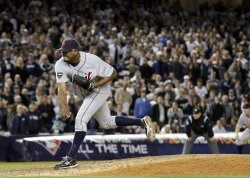 Detroit Tigers closer Jose Valverde throws a pitch in game 5 of the ALDS at Yankee Stadium in New York