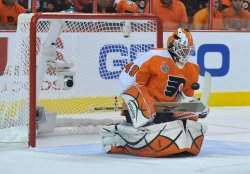 Flyers goalie Michael Leighton makes a save during the 2010 Stanley Cup Final