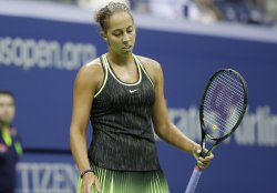 Madison Keys of the United States reacts at the US Open