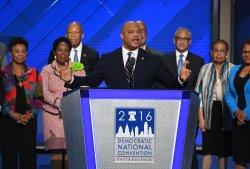 Rep. Andre Carson addresses delegates at the DNC convention in Philadelphia