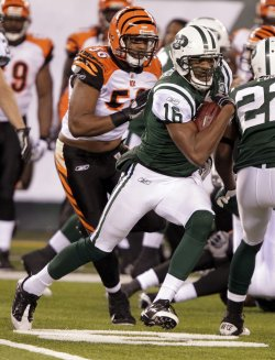 New York Jets Brad Smith returns a kick 89 yards for a touchdown at New Meadowlands Stadium in New Jersey